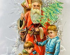 Santa with Children on Deluxe Glass Basket with Jewel