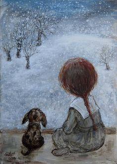 Watching Snow Fall Art by Nino Chakvetadze