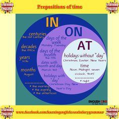 Prepositions of time examples