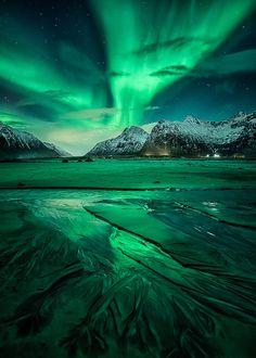 nordlys ] ~ aurora borealis, Flakstad, Lofoten, Northern Norway by D-P… Lofoten, Beautiful Sky, Beautiful Landscapes, Beautiful Norway, Landscape Photography, Nature Photography, Waterfalls Photography, Photography Pics, Scenic Photography
