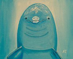 Antes de salir a cenar, un poco de pintura. Un simpático delfín