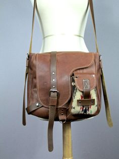 Leather messenger bag with Pendleton wool by VitalTemptation, $170.00