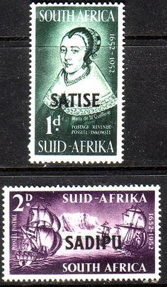 South Africa 1952 International Stamp Exhibition Set Fine Mint SG141 2 Scott 120 1 Van Riebeeck OverprintedOther South African Stamps HERE