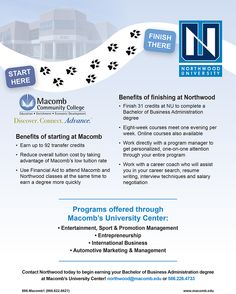 Contact Northwood University today to begin earning your Bachelor of Business Administration degree at Macomb's University Center! http://www.macomb.edu/future-students/choose-program/university-center/northwood-university.html