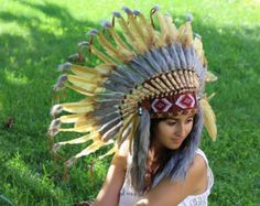 Golden Light brown  Indian Headdress, native american Style warbonnet by theworldoffeathers. Explore more products on http://theworldoffeathers.etsy.com