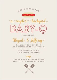 Invite guests to a backyard party for both parents-to-be with the Baby-Q Baby Shower Invitations. Personalize this fun design with your favorite colors and fonts instantly online. Baby Q Shower, Baby Shower Games, Baby Shower Parties, Planning A Baby Shower, Baby Shower Barbeque, Baby Shower For Men, Shower Party, Baby Shower Centerpieces, Baby Shower Decorations