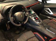 Interior of the Lamborghini Aventador S Roadster painted in Nero Aldebaran Photo taken by: @lamborghini_porrentruy on Instagram