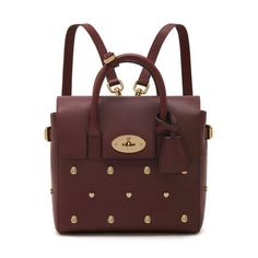 Mini Cara Delevingne Bag with Rivets in Oxblood Silky Classic Calf   Cara Delevingne Collection   Mulberry