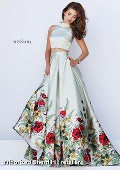 b97ae5e83e1 2016 Sherri Hill 50270 Two Piece Floral Print Prom Dress - floral womens  dress