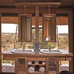 Solar-powered Eagle View safari eco-lodge overlooks Kenya's beautiful landscapes Glamping, Safari Bathroom, Tent Living, Game Lodge, Outdoor Bathrooms, Villas, Luxury Camping, Lodge Decor, Pool Landscaping