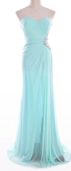 Light Blue Long Sweetheart Ruched Chiffon Evening Prom Gown Dress