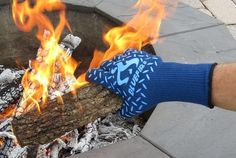 """Promising Review: """"I LOVE fire. Love cooking with fire. So I BBQ a lot. When you spend so much time around fire it's just a matter of time before fire wins. So I am always looking for protective gloves, etc., to help me ensure that the only thing cooking is the meat on the grill and not me. I mean come on, they have a picture of a guy holding a flaming piece of wood. I had to have it and of course test it out to see if it is true. I was indeed able to hold a flaming piece of wood without…"""