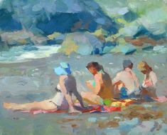 Kevin Macpherson - About the Artist Painting People, Figure Painting, Painting & Drawing, Landscape Art, Landscape Paintings, Virtual Art, Coastal Art, Beach Art, Contemporary Paintings