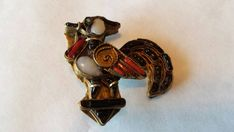 1930s Rooster  Brooch Pin Onyx Coral Turquoise by TallulahsVintage
