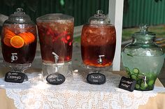 Vintage Mad Hatter Tea Party, for Bridal Shower | different teas used for mixers with champagne | Made-N-California