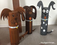 Chiens, recyclage de tubes en carton. www.toutpetitrien.ch - fleurysylvie Animal Crafts For Kids, Animal Projects, Cardboard Tubes, Cardboard Crafts, Paper Flowers Craft, Flower Crafts, Paper Towel Crafts, Easy Crafts, Arts And Crafts