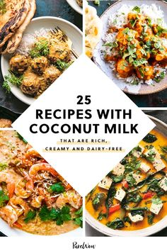 25 Recipes with Coconut Milk That Are Rich, Creamy and Dairy-Free picks Indian Food Recipes, Healthy Dinner Recipes, Cooking Recipes, Scd Recipes, Ethnic Recipes, Quick Recipes, Coconut Milk Recipes, Food Porn, Bean Recipes
