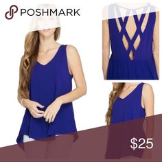"""Paige - Latrice Back Top Color:  Royal Blue Sleeveless Tank Top Lattice Design on Back Slight High Low Hemline Flowy, Relaxed Fit Material Does Not Have Stretch Materials:  60% Cotton / 40% Polyester Measurements:  Model is 5'9"""" The Modern Minx NYC Tops Blouses"""