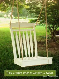 Spring garden ideas- thrift chair swing. Absolutely love this idea!