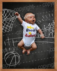 Basketball Star - Digital Photo of a chalkboard drawing customized with your baby's photo on Etsy, $45.00