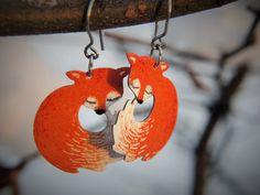 Cute fox earrings enamel earrings stainless steel by CinkyLinky