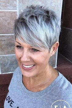 Silver Featured Pixie Cut This idea is the perfect example of how a short pixie looks great on older women. Silver Featured Pixie Cut This idea is the perfect example of how a short pixie looks great on older women. Short Haircut Styles, Short Hair Styles Easy, Short Pixie Haircuts, Curly Hair Styles, Short Female Haircuts, Hairstyles Haircuts, Short Pixie Cuts, Pixie Cut With Long Bangs, Choppy Pixie Cut