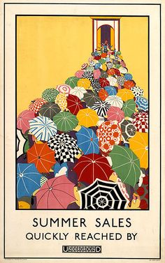 Summer Sales Quickly Reached by Underground. This vintage advertising poster for the London Underground shows a mass of people carrying umbrellas walking toward an entranceway. Illustrated by Mary Koop, Fine-art poster printed on museum quality paper. Vintage Advertising Posters, Vintage Travel Posters, Vintage Advertisements, Vintage Ads, Vintage Graphic, Vintage Style, Vintage Fashion, Creative Advertising, Etsy Vintage