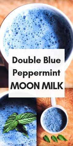 BLUE MOON MILK {PEPPERMINT} This gluten-free & vegan Double Blue Peppermint Moon Milk makes for one soothing & delicious antioxidant-rich brew perfect for those stressful days and sleepless nights . Yummy Drinks, Healthy Drinks, Healthy Recipes, Healthy Food, Refreshing Drinks, Gluten Free Blueberry, Vegan Gluten Free, Healthy Eating Tips, Healthy Nutrition