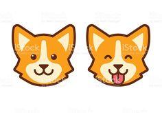 Лицо значок в виде собак корги Сток Вектор Стоковая фотография