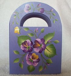 PURPLE PANSIES Floral Paper Desk Caddy GIFT Box - Wood Favor Box - Floral Blossoms on Etsy, $12.99