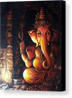 Portrait Of Lord Ganapathy Ganesha Canvas Print / Canvas Art By Arun Sivaprasad Art Painting, Indian Art Paintings, Ganesha Painting, Painting Canvases, Canvas Prints, Painting, Art, Canvas Art, Realistic Paintings