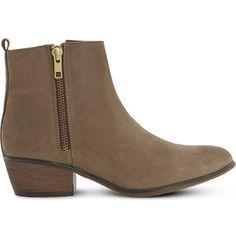 STEVE MADDEN Neovista leather ankle boots ($72) ❤ liked on Polyvore featuring shoes, boots, ankle booties, leather booties, ankle boots, zipper boots, mid heel booties and side zip boots