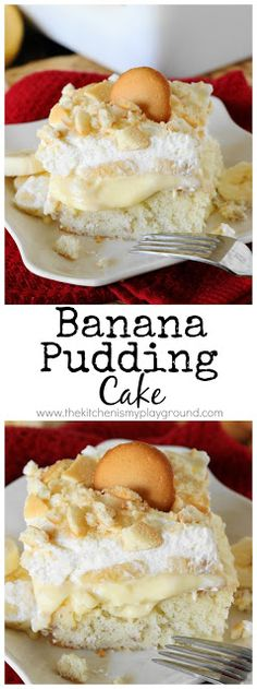 Banana Pudding Cake ~ The traditional flavors of #bananapudding in creamy cake form. So good it'll have you going back for seconds ... and even thirds!  #pokecake #cake www.thekitchenismyplayground.com