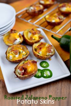 Roasted Jalapeno Popper Potato Skins.  Now these look yummy!!!