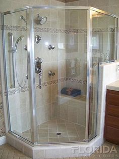 Semi Frameless Neo Angle Shower Enclosure With A 6 Inch