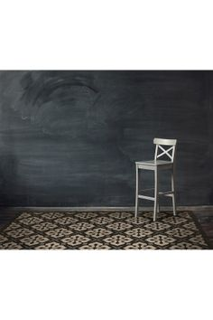 Black on White Fade-Resistant Floor Mat for High Traffic Areas