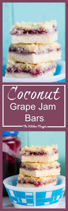 This recipe is perfect for a picnic or summer party. Coconut Grape Jam Bars - The Kitchen Magpie Perfect Bar Recipe, Cookie Recipes, Dessert Recipes, Bar Recipes, Baking Recipes, Recipies, Grape Jam, Coconut Bars, Pinterest Recipes