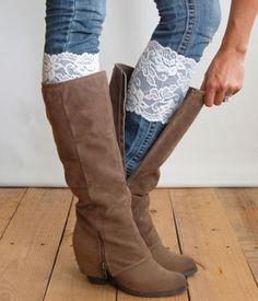 Lace Boot Socks - Boot Cuffs, leg warmers, lace socks 6 color options