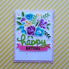 """A floral birthday card, using the """"Fab Flowers"""" stamp set from """"Lawn Fawn""""."""