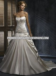2012 Style A-line Strapless Beading Short Court Trains Satin Wedding Dresses For Brides Formal Dresses For Weddings, Bridal Wedding Dresses, Cheap Wedding Dress, Wedding Dress Styles, Formal Gowns, Formal Wear, Blush Bridal, Maggie Sottero Wedding Dresses, Bustier