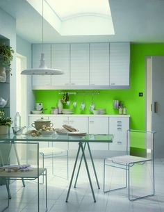 Unique Decoration Simple Green Kitchen Interior Ideas Wite And Green Modern Minimalist Simple Kitchen With Dining Table Set, Stuning Simple Kitchen Design Ideas For Modern House Kitchen Colour Schemes, Kitchen Wall Colors, Kitchen Wall Tiles, Kitchen Paint, Color Schemes, Kitchen Wallpaper, Kitchen Backsplash, Kitchen Countertops, Green Kitchen Interior
