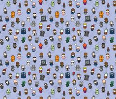 DOCTOR WHO - Doctors, Monsters, and Friends fabric by studiofibonacci on Spoonflower - custom fabric $18