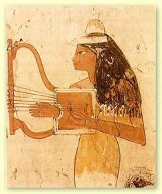 The music of ancient Egypt was a big part of everyday life. It was in almost every aspect of Egyptian life. Many of the musicians were women which was second in status only to royalty. The lute lyre and harp were the most popular Egyptian instruments. Egyptian Women, Ancient Egyptian Art, Ancient History, Art History, Ancient Music, Kemet Egypt, Egypt Museum, Amenhotep Iii, Monuments