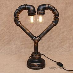 At Home Stuff Industrial Steam Punk Pipe Heart Desk Lights Table Lamp Sconce Lighting Fixtures Industrial Home Design, Vintage Industrial Decor, Industrial Lamps, Vintage Lamps, Painting Lamp Shades, Painting Lamps, Pipe Lighting, Sconce Lighting, Lampe Tube