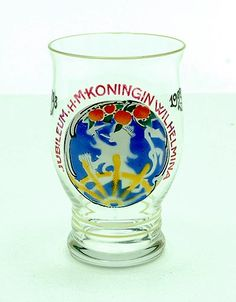 Clear glass waterbeaker with enamel-painted decoration with text Jubileum H.M Koningin Wilhelmina 1898-1923 design A.D.Copier 1923 executed by Glasfabriek Leerdam / the Netherlands