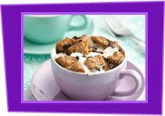 Cup O' Chocolate- Coconut Bread Pudding Ingredients: One 25-calorie packet diet hot cocoa mix (like Swiss Miss Diet) Dash salt 1/2 cup fat-free liquid egg substitute (like Egg Beaters Original) 1/4 tsp. coconut extract 2 slices light white bread 1 tsp. mini semi-sweet chocolate chips 10 mini marshmallows