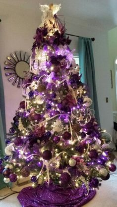 Purple 2014 tree Black Christmas Tree Decorations, Peacock Christmas Tree, Purple Christmas Tree, Unique Christmas Trees, Christmas Mantels, Holiday Tree, Christmas Wreaths, Xmas Trees, Coastal Christmas