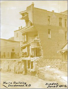 Waite building in Deadwood, June 5, 1904. Photograph courtesty of Adams Museum, Deadwood, SD