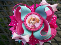 Skye Paw Patrol Inspired  Boutique Stacked Bow 4 inch