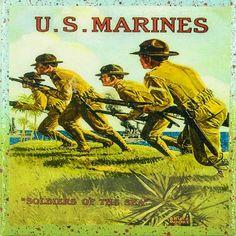 Vintage Patriotic Military Art - Marines Military - Soldiers Of The Sea - Handmade Recycled Tile Coaster Lucky Luke, Military Art, Military History, Military Pins, Once A Marine, Marine Mom, Us Marine Corps, Us Marines, American War